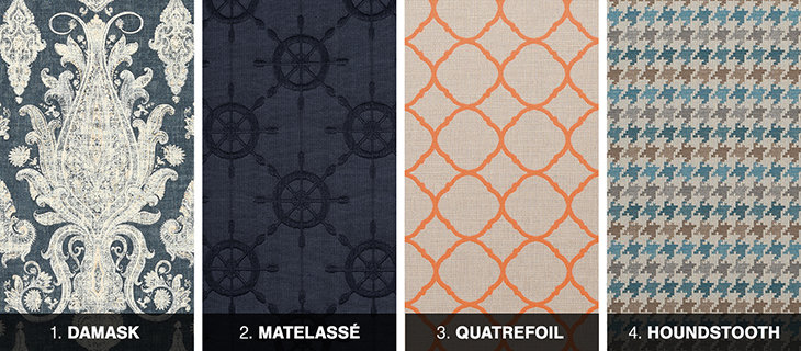 Damask, matelasse, quatrefoil and houndstooth fabrics
