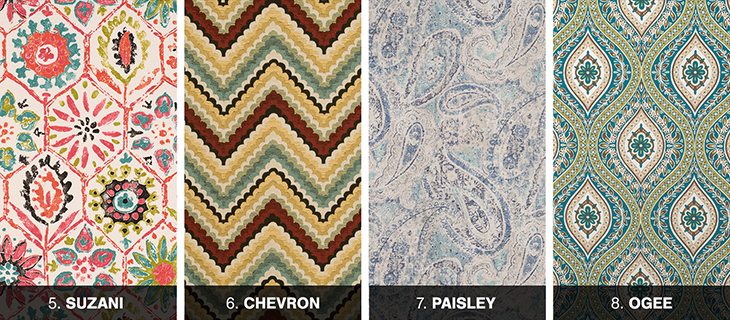 Suzani, chevron and paisley fabric styles