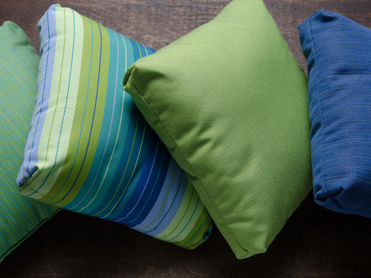 Pillows made from 100% acrylic Sunbrella fabric
