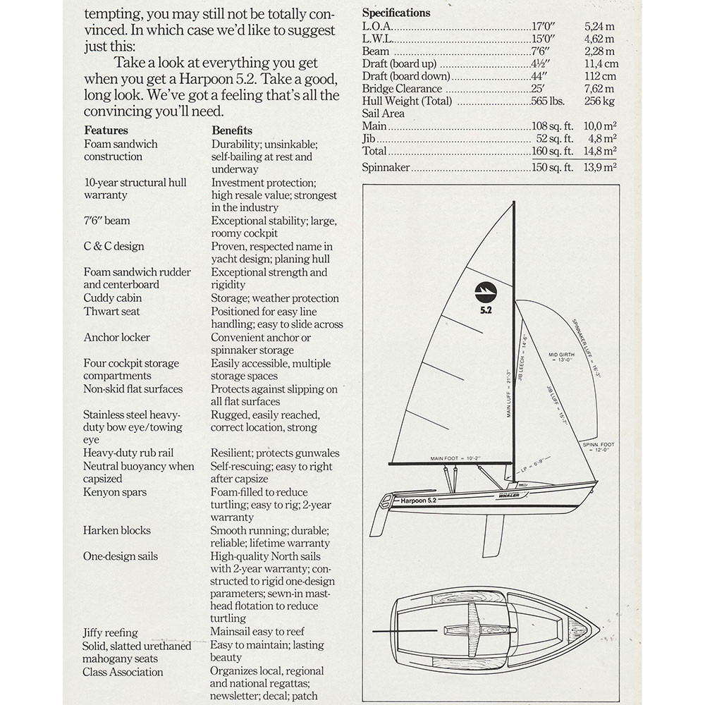Boston Whaler Harpoon 5 2 Sail Data