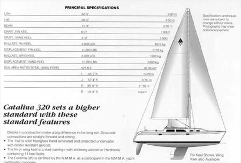 Catalina 320 Sail Data