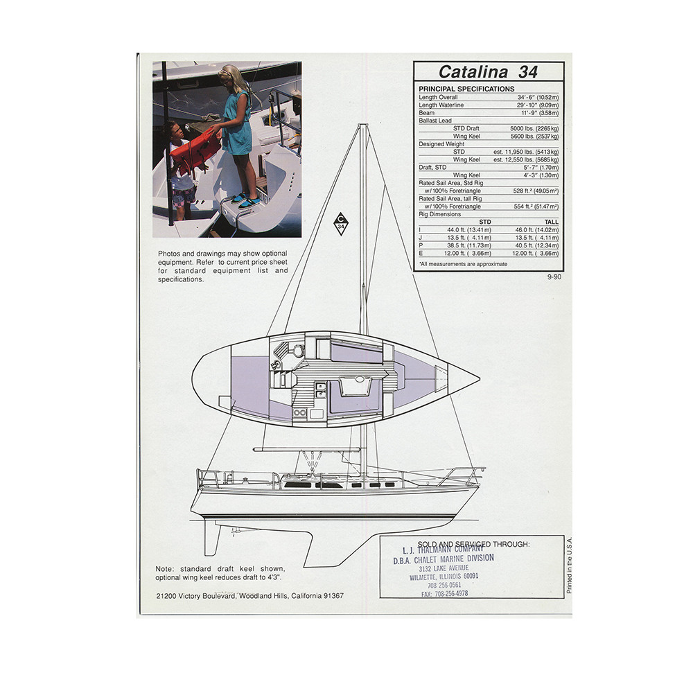 Catalina 34 Standard Sail Data