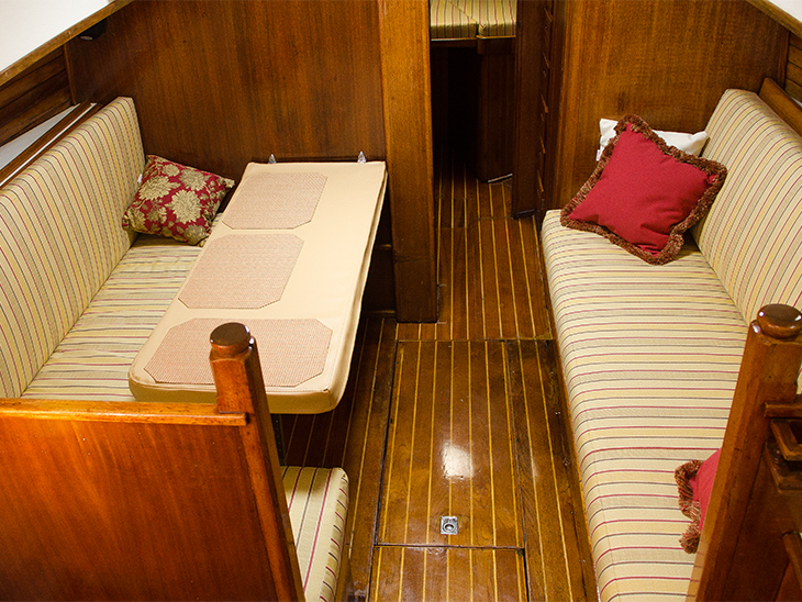 The salon of an Islander 37 sailboat