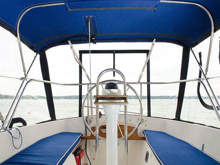 Cockpit with cushions on a Seaward 22 sailboat