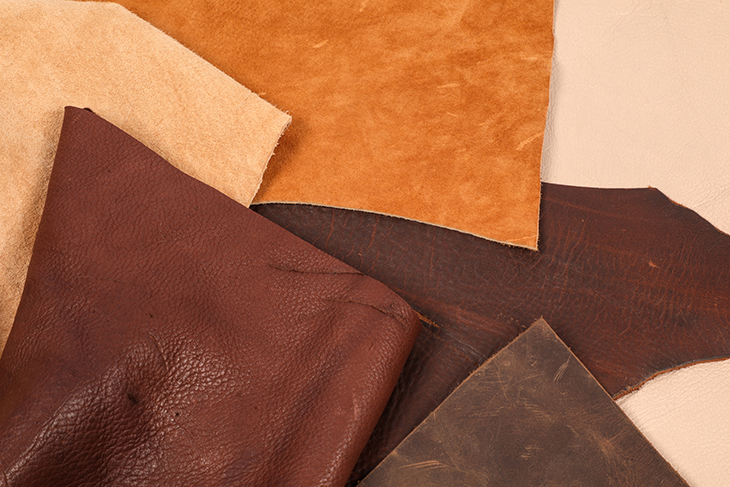 df582bd8 A variety of top grain and split leather hides.