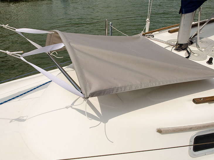 Finished hatch canopy made from a Sailrite kit installed on our Seaward 24 sailboat & How to Make a Hatch Canopy - Sailrite