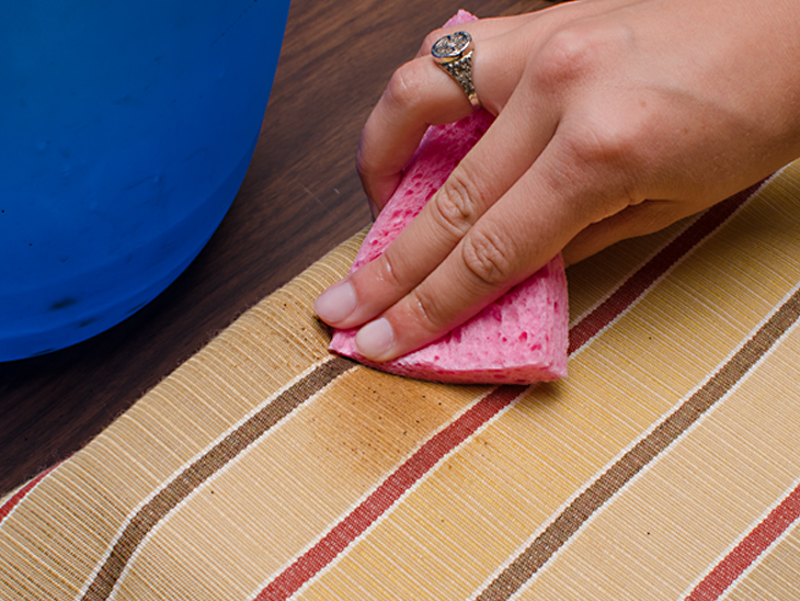 Spot clean spills and stains off Sunbrella fabric