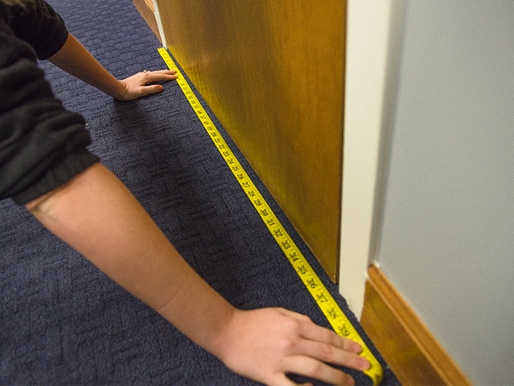 Measure the width of the door or window frame for your draft blocker