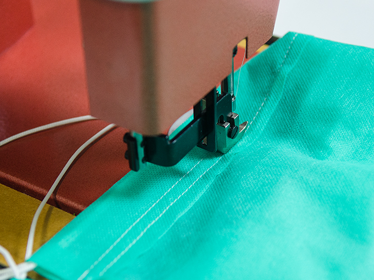 Sew around the top of the bag.