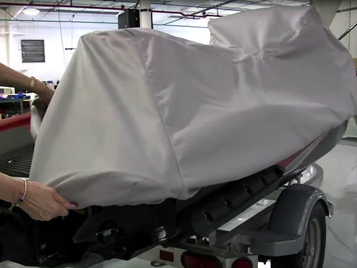 Test fitting our personal watercraft cover on the jet ski