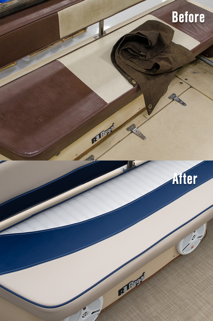 Aft Bench Cushion Before And After.