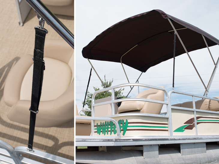 Webbing support strap for a bimini top