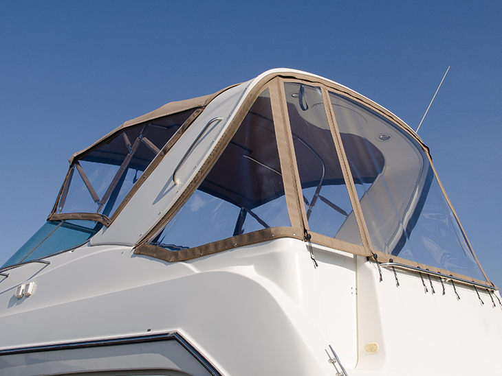 Powerboat enclosure finished aft curtain.