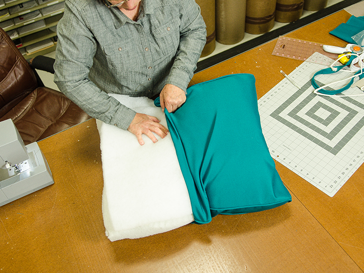 Insert The Batting And Foam Into The Cushion Cover.