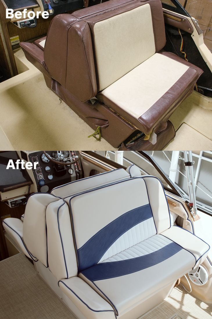 Before and After Back-to-Back Lounge Seat Upholstery