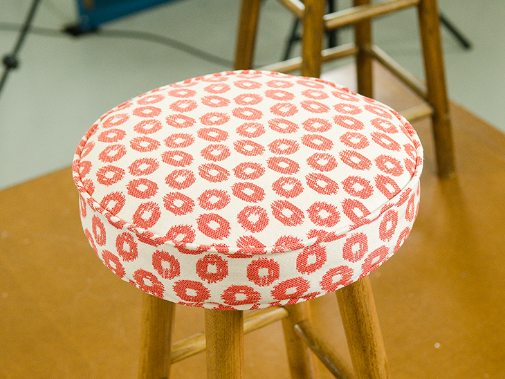 Finished Bar Stool With Fabric Top.