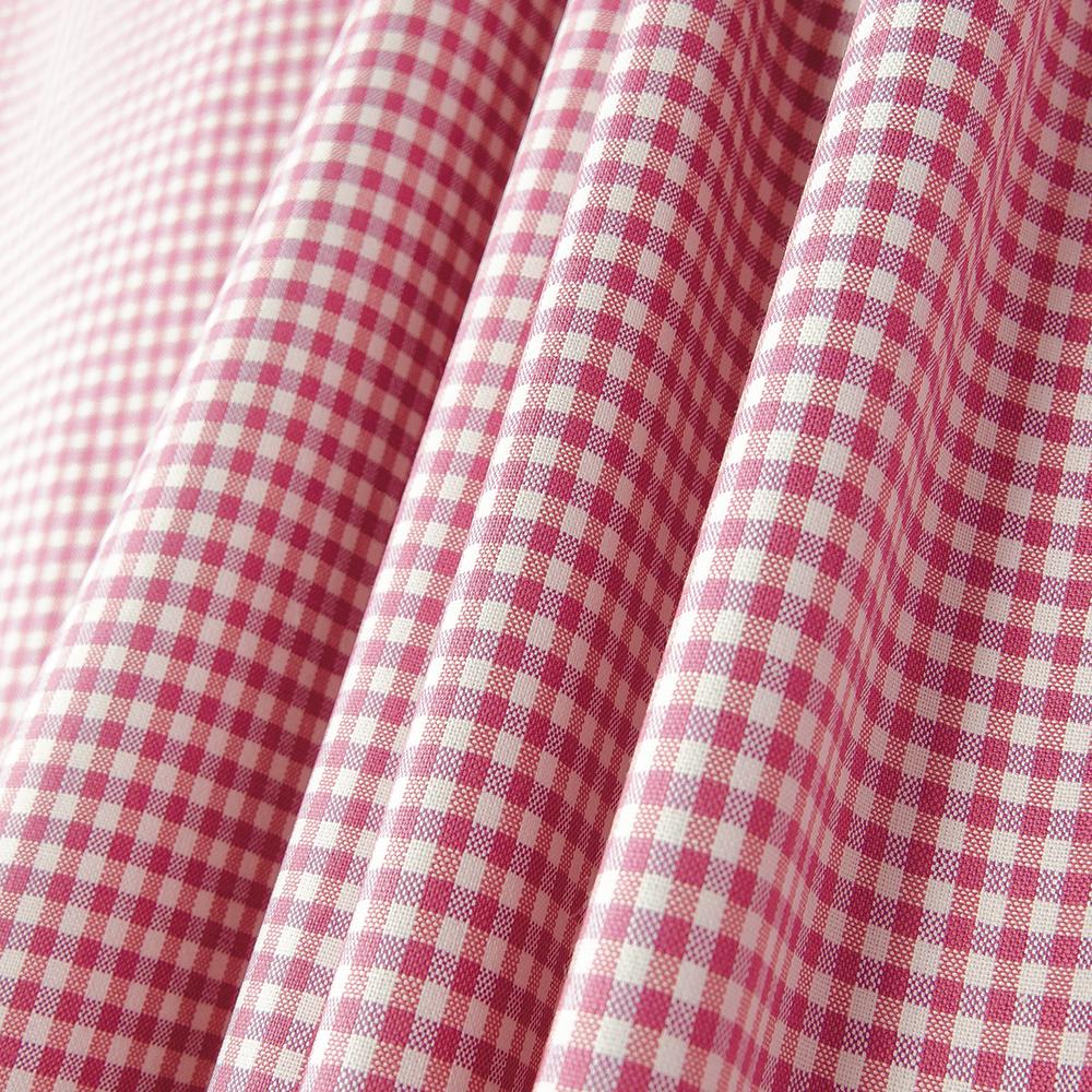 Hopscotch Pink Green Plaid Cotton Blend Fabric 54
