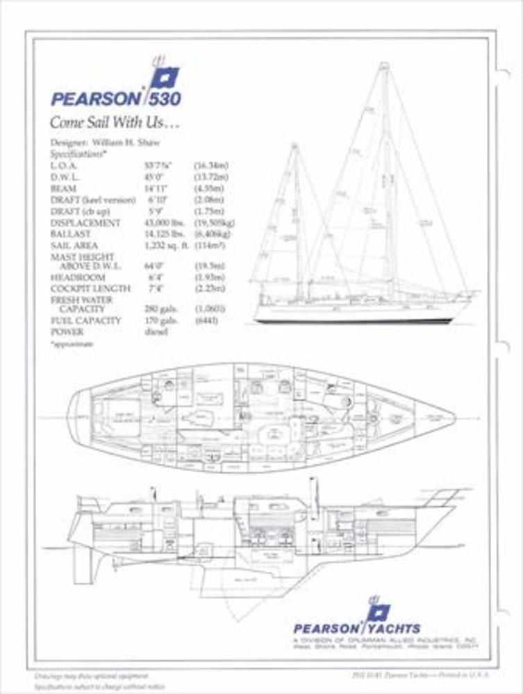 Pearson 530 (ketch Rig) Sail Data