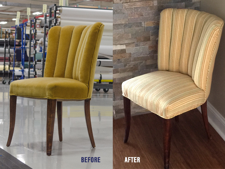 Charming Before And After Of This Channel Back Chair.