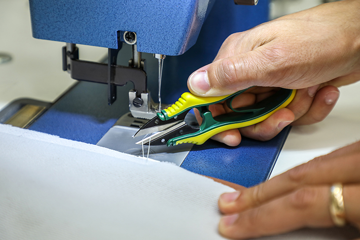 Sewing snips get into tight spaces for snipping threads quickly and easily.
