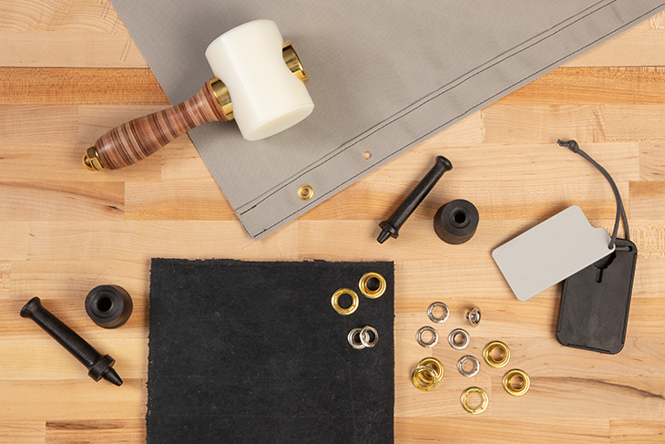 A variety of tools for installing grommets