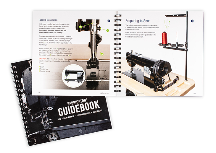 A Fabricator Guidebook open on display.