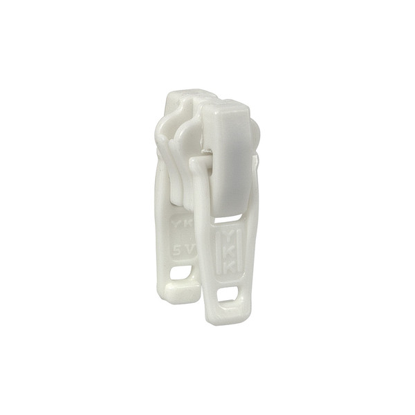 YKK® Zipper Slider #5 Vislon® White Plastic Double Locking Pull
