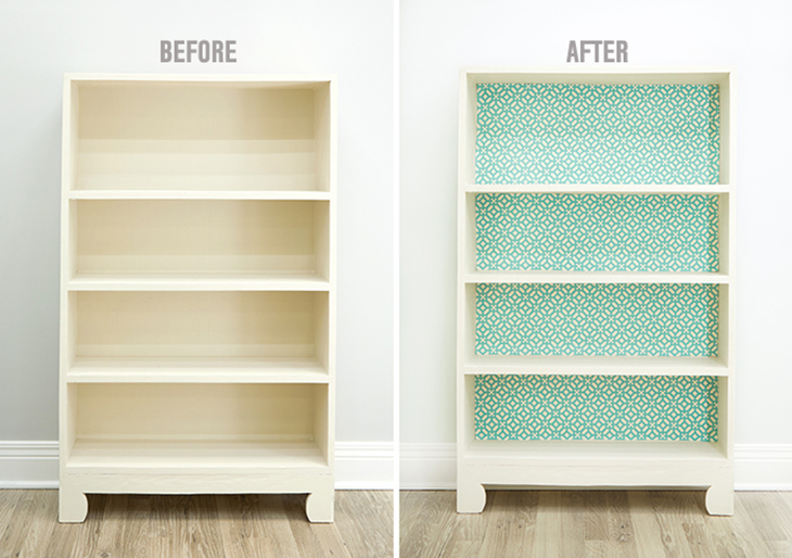 DIY No-Sew Fabric-Lined Bookcase