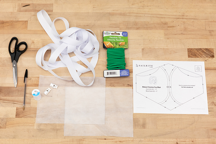 Materials for making a contoured protective face mask.