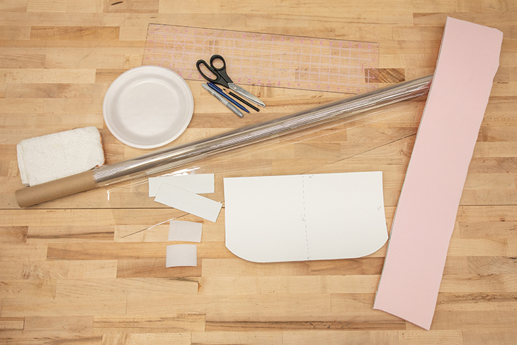 Materials needed to make a disposable face mask shield